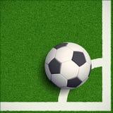 Esfera de futebol na grama Estádio de futebol Illustratio conservado em estoque Foto de Stock
