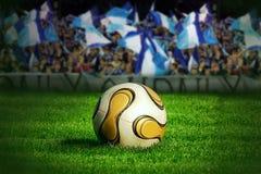 Esfera de futebol na grama verde imagem de stock royalty free