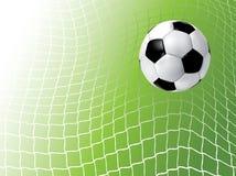 Esfera de futebol na rede Imagens de Stock