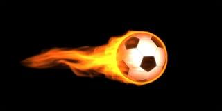 Esfera de futebol nas flamas Fotografia de Stock