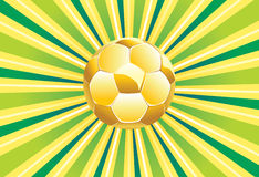Esfera de futebol no fundo verde Foto de Stock Royalty Free