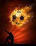 Esfera de futebol no incêndio Imagens de Stock Royalty Free
