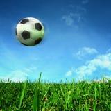 Esfera de futebol sobre o campo verde Imagens de Stock Royalty Free
