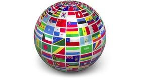 Esfera de giro com bandeiras do mundo