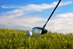 Esfera de golfe aproximadamente a ser golpeada pelo excitador com grama Imagem de Stock