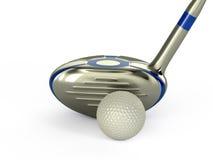 A esfera de golfe e 3d isolados clube rendem Fotografia de Stock Royalty Free