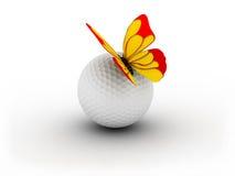 Esfera de golfe e Bitterfly Imagem de Stock Royalty Free