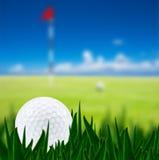 Esfera de golfe em um campo de golfe Fotografia de Stock Royalty Free