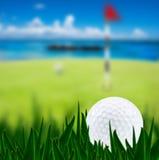 Esfera de golfe em um campo de golfe Imagens de Stock