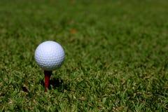 Esfera de golfe em um T Fotografia de Stock Royalty Free