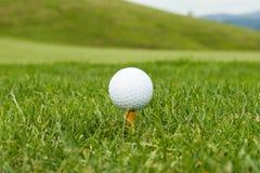 Esfera de golfe em um T Imagens de Stock Royalty Free