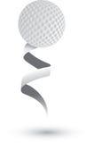Esfera de golfe em uma fita ilustração royalty free
