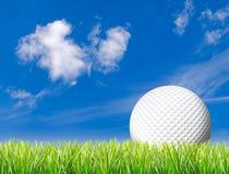 Esfera de golfe na grama alta Fotos de Stock