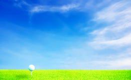 Esfera de golfe na grama sob o céu azul com destaque Fotografia de Stock Royalty Free
