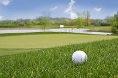 Esfera de golfe na terra Fotos de Stock Royalty Free