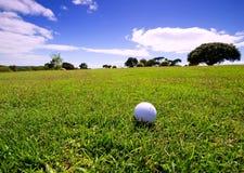 Esfera de golfe no fairway fotografia de stock royalty free
