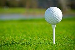 Esfera de golfe no fim do T acima Fotos de Stock Royalty Free