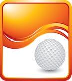 Esfera de golfe no fundo alaranjado da onda Imagens de Stock