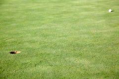 Esfera de golfe no furo próximo verde foto de stock