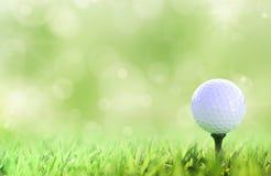 Esfera de golfe no T sobre um verde Fotografia de Stock Royalty Free
