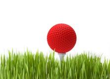 Esfera de golfe vermelha Imagens de Stock Royalty Free
