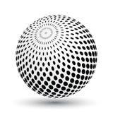 Esfera de intervalo mínimo do efeito em preto e branco Objeto do vetor 3D com sombra deixada cair Fotografia de Stock Royalty Free