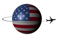Esfera de la bandera de los E.E.U.U. con el avión y el ejemplo de Swoosh Imagen de archivo libre de regalías