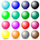 esfera de la bola 3d Sistema de esferas realistas coloridas aisladas en el fondo blanco libre illustration
