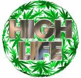 Esfera de la hoja del pote de la marijuana de la alta vida Stock de ilustración