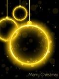 Esfera de néon dourada do Natal no preto Fotografia de Stock Royalty Free