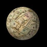 Esfera de notas de banco americanas de encontro ao preto imagens de stock