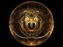 Esfera de oro del corazón del fractal Foto de archivo libre de regalías