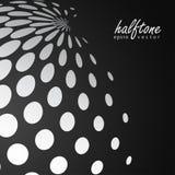 Esfera de semitono abstracta en el color blanco en fondo negro del color Imagen de archivo