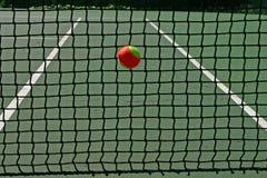 Esfera de tênis na rede Imagem de Stock
