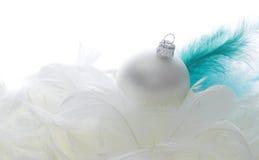 Esfera de vidro do Natal em penas Fotos de Stock Royalty Free