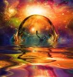 Esfera de vidro no universo vívido ilustração do vetor