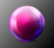 Esfera de vidro violeta realística do vetor transparente Imagem de Stock