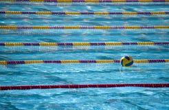 Esfera de Waterpolo no lan da natação Fotografia de Stock