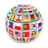 Esfera del globo con las banderas del mundo Fotos de archivo libres de regalías