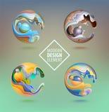 Esfera del gráfico de ordenador adornada con los pétalos 3d y los elementos del diseño dentro Logotipo del vector para su diseño  ilustración del vector