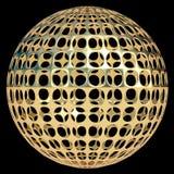 Esfera del oro, decoración abstracta, arte moderno, globo, bola Fondo negro 3d rinden stock de ilustración