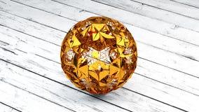 Esfera del oro, planeta, plexo Conections, representación 3D Fotos de archivo libres de regalías