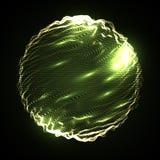 Esfera digital do vetor do sum?rio malha da esfera 3D com part?culas de incandesc?ncia Estilo futurista da tecnologia Fundo elega ilustração royalty free