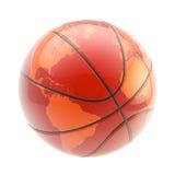 Esfera do basquetebol como uma esfera do planeta da terra se isolou Foto de Stock