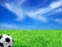 Esfera do futebol no campo Fotos de Stock Royalty Free