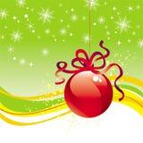 Esfera do Natal com fita Imagens de Stock