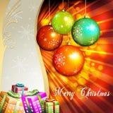 Esfera do Natal com presentes Fotografia de Stock Royalty Free