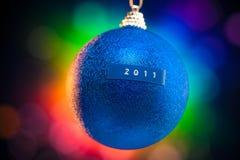 Esfera do Natal com título 2011 Fotos de Stock Royalty Free