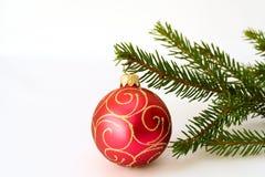 Esfera do Natal e refeição matinal vermelhas do abeto Fotografia de Stock Royalty Free