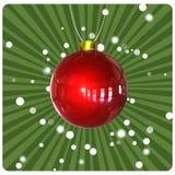 Esfera do Natal no fundo verde ilustração do vetor